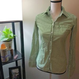 American Eagle Outfitters Green Stripe Button Down